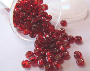 Red Glass Seed Beads 6/0