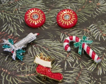 Three Vintage Christmas Holiday Brooches and Festive Clip On Earrings