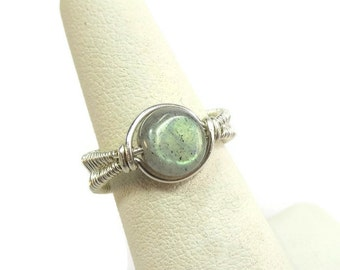 Wire-Wrapped Labradorite and Sterling Silver Adjustable Ring (SWSRSS18L)