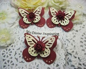 Burgundy and Ivory Paper Butterflies, Paper Embellishments for Scrapbooking Cards Mini Albums Tags Altered Projects and Paper Crafts