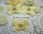 Gold and Ivory Paper Butterflies, Paper Embellishments for Scrapbooking Cards Mini Albums Tags Altered Projects and Paper Crafts