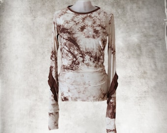 Tie dye and ruffles/Brown cream print/Women tee crew neck/Extra long scrunch knit top