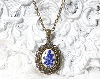 Delft blue pendant necklace delft blue jewelry delft delft blue cabochon delft blue necklac bronze pendant necklace
