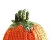 Pumpkin Hat - Soft Hand Knit - Newborn - Ready to Ship