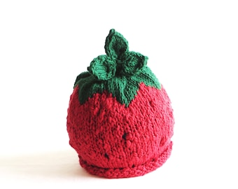Strawberry Hat - Toddler Size - Cotton - Made to Order