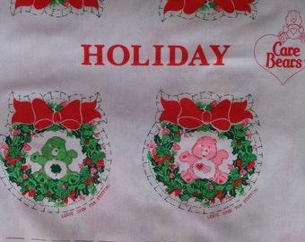 Vintage 1980's Christmas 12 Care Bears Holiday Wreath Ornament Fabric Panel