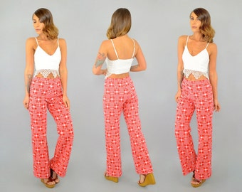 70's GINGHAM Bell Bottoms Pants