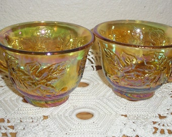 Twelve Amber Floresent Indiana Carnival Glass Punch Cups Set (12)