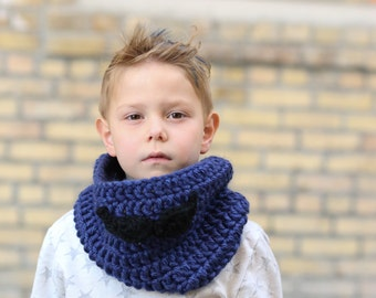Ready to Ship Child Mustache Cowl in blue denim with black mustache Chunky Warm Cowl neck warmer scarf