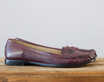 1980s Vintage Maroon Leather Penny Loafers LL Bean (9 M)