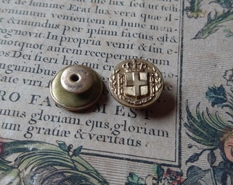 Charming pair antique French studs with couronne crown  ATTIC FIND c1900  Belle Brocante
