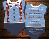 10 Little Man Baby Shower Invitations, Blue Striped Suspenders invitation, bodysuit Invite, Bowtie Invite, gentleman, Die Cut