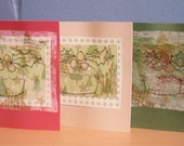 Hand Stitched Christmas Cards, 3 Pack of Christmas Cards