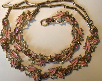 Unusual 1960s Petite Pink Metal Leaf Rhinestone Bracelet and Necklace Set