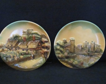Choose One or Both - 1952 English Bossons Chalkware Wall Art - Ann Hathaway's Stratford on Avon Cottage or Conway Castle and Bridge Wales