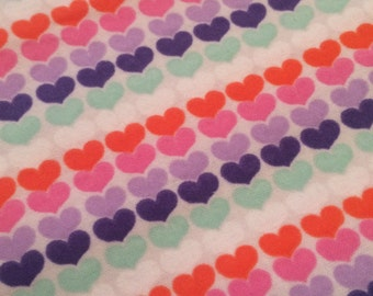 Rainbow Hearts - FLANNEL - BTY