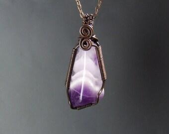 Chevron amethyst necklace, february birthstone jewelry, copper necklace, healing gemstone pendant