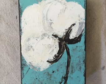Cotton, Blossom, Painting, original art, canvas