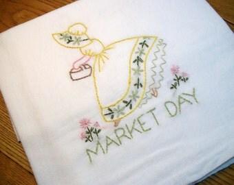 Dish (Tea) Towel with Sun Bonnet Sue Design Hand Embroidery Flour Sack Dish Towel Market Day