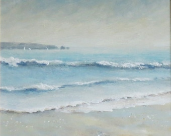 Original painting evening beach summer ocean vacation