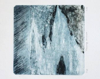 Original collagraph print rain storm thunder handmade print limited edition