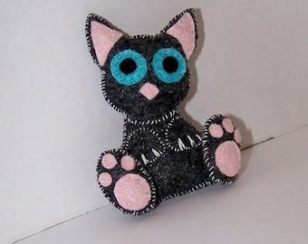 Felt cat, fabric cat, cloth cat, stuffed animal, OOAK, kawaii - Clearance