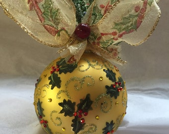 Holly Glass Ornament