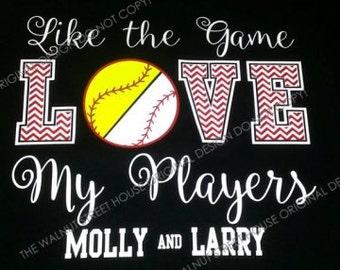 Custom Design - Half Baseball Half Softball, House divided, Baseball Mom shirt, Softball Mom Shirt, Like the game Love the Player, Walnut St