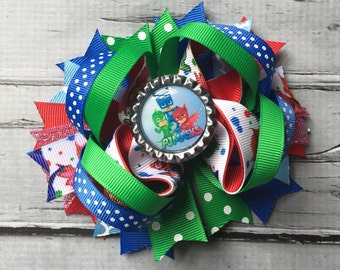 PJ Masks hairbow, Layered Hairbow, PJ Masks stacked bow, PJ Masks birthday bow