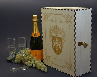 Wedding Champagne Box Set with 2 Keepsake Drawers and 2 Custom Etched Flutes