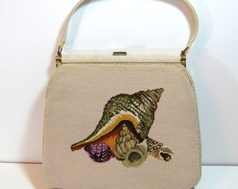 Vintage Needlepoint Purse With Seashell Design, Granny Purse, Handmade Vintage Purse