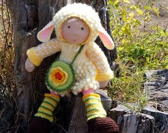 "Waldorf knitted doll Yurka 16"""