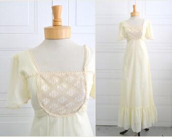 1970s Terri Juniors Cream Prairie Dress