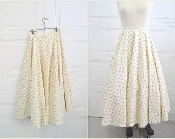 1970s Lavender Roses Circle Skirt