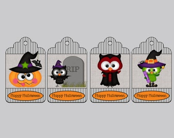 Set of 8 Halloween Tags, Treat Bag Tags, Trick or Treat Tags, Party Favor Tags, Bag Tags, Hang Tags, Personalized Tags