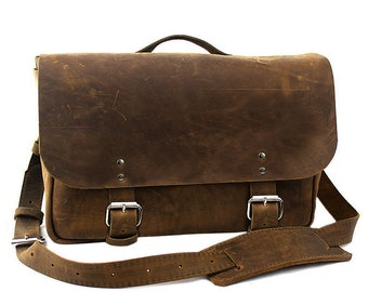 "Medium 14"" Lewis & Clark Courier Mail Bag Made in the U.S.A. - Distressed- 14-LEWC-DIS-LAP"