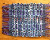 Handwoven Denim Log Cabin Coasters,Blues, Purple and Burgandy
