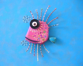 Pink Guppy, Original Found Object Wall Sculpture, Wood Carving, Wall Decor, by Fig Jam Studio