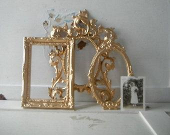 gold open frames petite set frames metallic gold brocante frames cottage chic shabby decor ornate frames upcycled vintage baroque frames