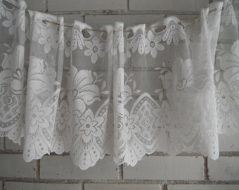 "window topper window valance vintage valance french country floral pattern cottage chic lace decor topper patterned lace topper 80"" x 11"""