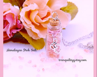 Pink Himalayan Salt Necklace , Protection , Healing , Self Love, 2ml Bottle Necklace ,  chakra ,awareness clairvoyance ,By Tranquilityy