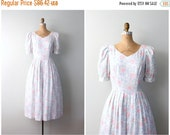 SALE SALE // pale pastel floral print Lanz dress - vintage 80s / Sweet Kawaii - summer bridesmaid / Alice - tea party frock