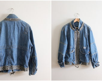 vintage 80s Gasoline denim bomber jacket / 80s jean jacket - stonewashed denim designer jacket / New Wave jacket - 1980s slouchy denim
