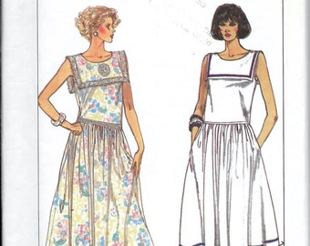 Simplicity 8008 Sailor Nautical Style Dress With Square Collar Sewing Pattern UNCUT Size 6, 8, 10 and 12