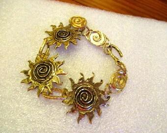 OOAK - Sacred SPIRAL SUN Artisan Gold/Bronze Etched, Embossed, Dimensional Rustic Link Handmade Bracelet w/Spiral Charm