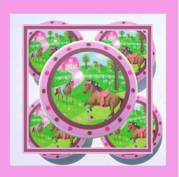 1 (one)  PRETTY HORSE Pink Brown  kids baby girls mtm bedding set Dresser Drawer Knobs