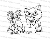 Kitty In Flowers Digital Stamp Image