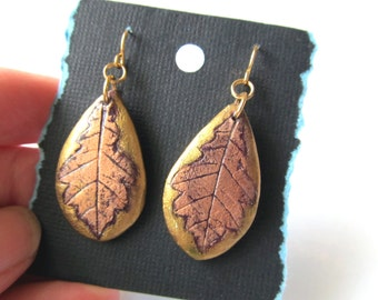 Earrings Real White Oak Leaf in Gold and Copper Color on Burgundy on Gold Plated Stainless Steel Hooks