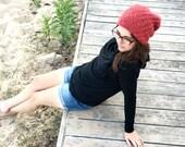 The Adventure Beanie BRICK Red Hat Handknit Wool / Alpaca Slouchy Beanie Unisex Slouch Hat Barn Red Gift for Women Men Under 50 WormeWoole