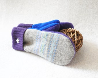 Felted Wool Mittens BLUE & PURPLE Pastel Fair Isle Sweater Mitts Eco Friendly Gray Fleece Lined Mittens Gift for Women by WormeWoole